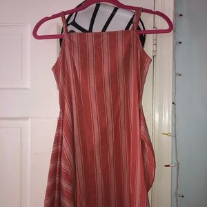 Pink and white striped summer dress.
